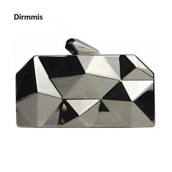 New fashion 2018 Women messenger bag brand wallet unique solid metal acrylic hand bag lady party prom Shoulder bag casual Clutch