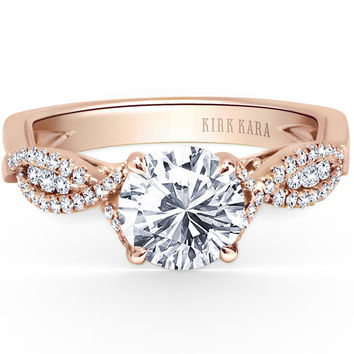 "Kirk Kara ""Pirouetta"" Split Shank Twist Diamond Engagement Ring in 18kt Rose Gold"