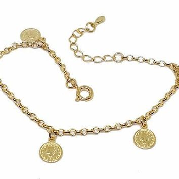 "1-0692-f10 18kt Brazilian Gold Layered Rolo Link Coin Charms Bracelet. 7"" to 8"" adjustable length, 8mm coins."