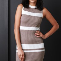 Taupe Striped Bodycon Mini Dress