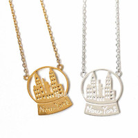 newyork necklace, newyork, snowball, nyc necklace, newyork city, newyork skyline, nyc jewelry, city necklace, skyline necklace