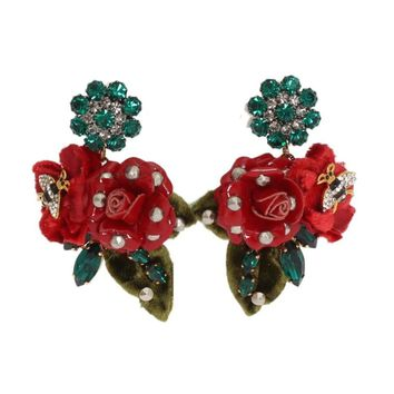 Dolce & Gabbana Gold Brass Crystal Roses Floral ClipOn Earrings