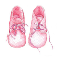 Watercolor Painting Pink Baby Booties Fine Art Giclee Print 5 x 7 - Nursery Art