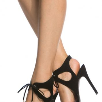 Black Faux Suede Cut Out Lace Up Single Sole Heels @ Cicihot Heel Shoes online store sales:Stiletto Heel Shoes,High Heel Pumps,Womens High Heel Shoes,Prom Shoes,Summer Shoes,Spring Shoes,Spool Heel,Womens Dress Shoes