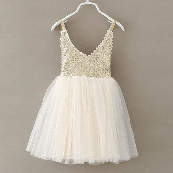 Gold Dress Sequin Lace White Tutu Party Wedding / Size 2-6Y