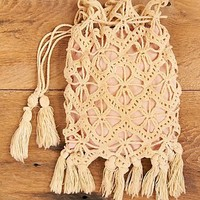 Free People Vintage Crochet Purse with Pink Lining
