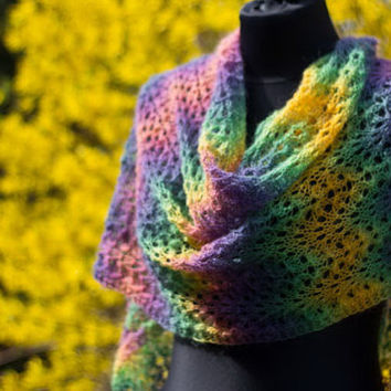 Angora Mohair Scarf Hand Knitted in Lace Pattern, Rainbow Color Stripe Wrap