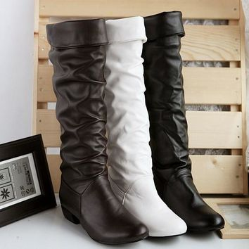 US SIZE Large size new arrive Winter Knee high Women Boots Black White Brown flat heel