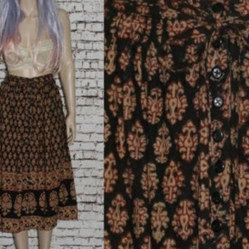 70s High Waist Skirt Midi Ethnic Floral Button Up Tie Full Boho Hipster Cotton Gauzy Boho Festival Hippie Gypsy Bohemian Earthy S M India