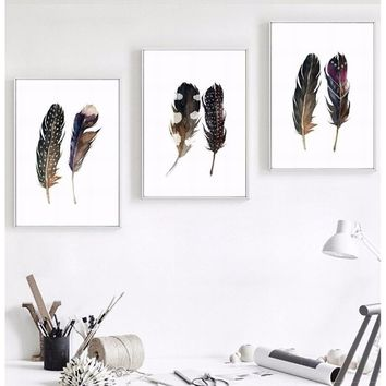 3 Styles Modern Home Office Decor Watercolor Wall Painting On Canvas Unframed Feather Wall Picture Wall Art Gift