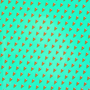 'Cool and Trendy Pizza Pattern in Super Acid green / turquoise / blue' by badbugs