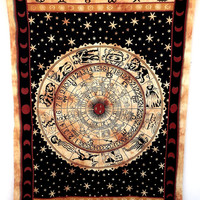 Twin Astrology Tapestry,Horoscope tapestry,Zodiac Tapestries Sun and moon,Wall Hanging,Bohemian Room Décor, Dorm Bedding Tapestry Art