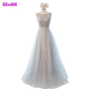 New Cheap Elegant silver Scoop Long Evening Dresses Arrival Mother Of The Bride Dress women formal evening gowns robe de soiree