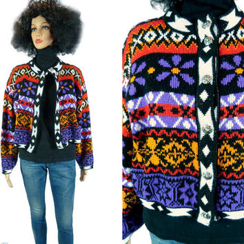 Vintage Abstract Cardigan, Daisy Button Down 80s 90s Tribal Flower Power Hip Hop Crop Sweater Fresh Prince 90210 Geometric Rave Revival