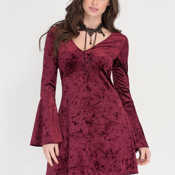 Crushin' Hard Velvet Bell Sleeve Dress GoJane.com