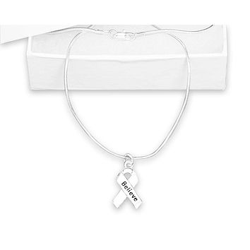 Silver Ribbon Believe Necklace for Mental Health Awareness