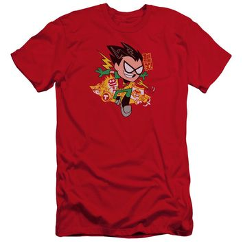 Teen Titans Go - Robin Premium Canvas Adult Slim Fit 30/1 Shirt Officially Licensed T-Shirt