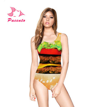 PACENT Burger King Print Swimsuit Bathing Suit Women One Piece Maillot Female Swimwear 2017 New Print Body Suit for Women Plavky