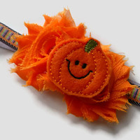 Pumpkin Headband - Girls Halloween Headband - Orange Shabby Flower Headband - Orange Flower Headband - Fall Headband - Fall Photo Prop