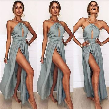 Sexy Maxi Dress Halter Backless Fashion