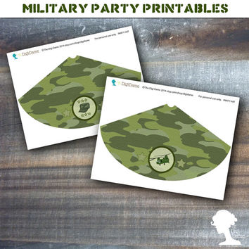Party Printable Military Army Soldier Boot Camp Party Hats in Green Camouflage