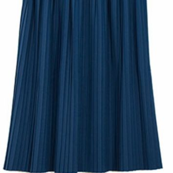 Mid Length Blue Pleated Skirt