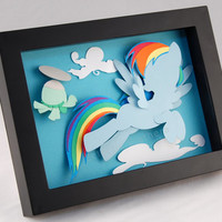 3-D MLP Rainbow Dash and Pet Turtle Tank - Framed 5x7 Shadowbox Geek Paper Art My Little Pony Mane 6 Shadow Box