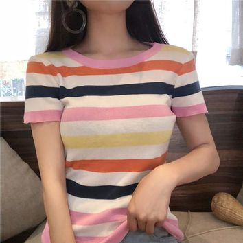 Kawaii rainbow striped short-sleeved T-shirt Summer Korea popular bts Harajuku casual round neck sweet knitted crop top