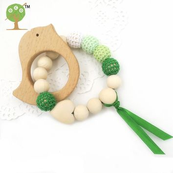 Organic Wood Nursing Toy Fade green xmas green Wood Bead Teething Bracelet Baby Mom Kids Wooden Teether bird 3pcs/lot ET84