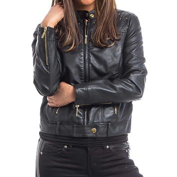 Women's Black Studded Trim  Moto Leatherette Woman's Jacket Coat with Plus Sizes