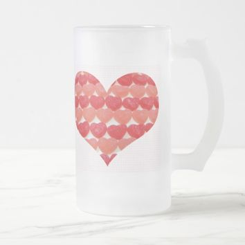Candy Hearts In A Row, Heart Shaped Frosted Glass Beer Mug