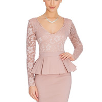 Nude Floral Lace V-Neck Long Sleeve Peplum Pencil Dress