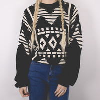 Vintage Black And White Tribal Sweater