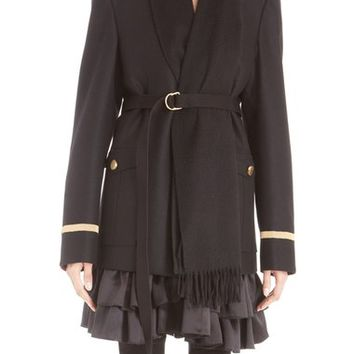 Givenchy Wool Flannel Military Jacket with Attached Cashmere Scarf | Nordstrom