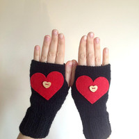 Valentine's Day Gift Red Heart Wooden Heart Button Black Fingerless Gloves - Knit Mittens - Women Teens Accessories - Fall Winter Fashion