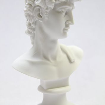 "6 1/2"" Inch Bust of David Michelangelo Statue Sculpture Figurine Figure Fine Art Classic Art Deco Vittoria Collection Made in Italy"