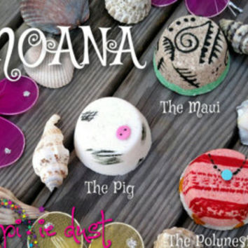 Moana inspired mini bath bomb set, Pua, Maui, Polynesian, princess
