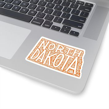 North Dakota State Shape Sticker Decal - Orange
