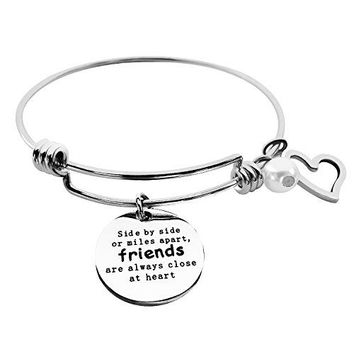 ALoveSoul Best Friends Bracelet  Side By Side Or Miles Apart Bangle  Long Distance Friendship Gifts