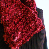 Berry Wine Knit Hand Spun Cowl Infinity Scarf