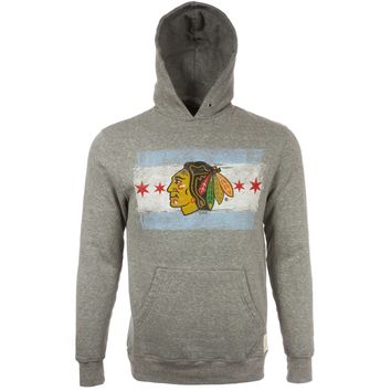 Mens Chicago Blackhawks Triblend Chicago Flag Hoodie