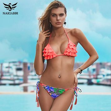 Brazilian Girls Swimwear Halter Top Bottoms Micro Bikini Set