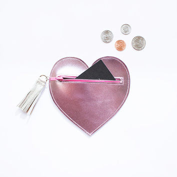 Metallic Pink Heart Leather Purse // Silver Cute Zipper Bag // Card Wallet Coin Pouch // Tassel // Birthday Wedding Gift