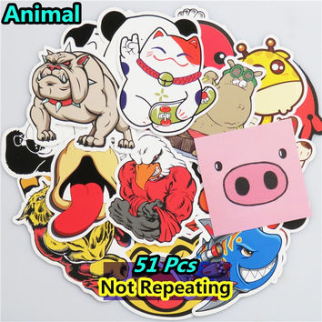 Mixed 51 PCS Cute Animal Sticker Luggage Skateboard Doodle Vinyl Decals Car Styling Laptop Bike Toy Waterproof DIY JDM Stickers