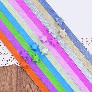 Folding Star Origami / Paper Lucky Star Assorted Paper / Craft Supplies / Favour Strips 2 Colors Shiny Mixed 40 Stripes