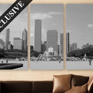 Chicago Wall Art EXTRA LARGE Canvas Print 3 Panel Art Retro Wall Art Minimal Art Deco Fine Art Photography Print for Home & Office Wall Art