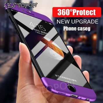 360 Full Protected Phone Cover For iphone 8 8 plus 7 7 plus case PC Shockproof Hard Cases for iphone 6 5s 6 plus protected shell