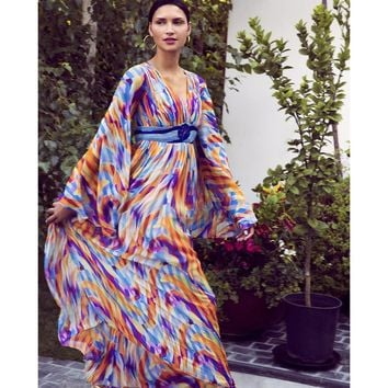 Multicolor Bell Sleeve Maxi Dress