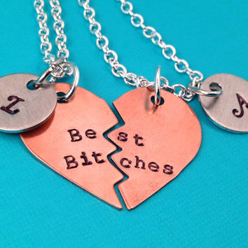 Best Bitches Hand Stamped Broken Heart with Initial Charms Necklace Set- In Brass, Copper, or Aluminum