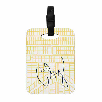 "Love Midge ""City Streets And Parcel Maps"" Yellow Travel Decorative Luggage Tag"